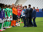 French President Emmanuel Macron, Co-president of AS Saint-Etienne Roland Romeyer, President of PSG Nasser Al Khelaifi, President of French Football Federation Noel Le Graet during the teams' presentation before the French Cup final football match between Paris Saint-Germain (PSG) and AS Saint-Etienne (ASSE) on Friday 24, 2020 at the Stade de France in Saint-Denis, near Paris, France - Photo Juan Soliz / ProSportsImages / DPPI