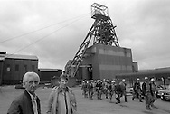 Sacked miners Brian Martin & Keith Millward at their old pit, Markham Colliery Derbyshire. 25 June 1985