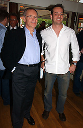 Left to right, LORD ARCHER and JAMES MAJOR son of former Prime Minister John Major at a party to celebrate the publication on 'Confessions of a Dedicated Englishman' by David English held at the Lord's Tavern, St.John's Wood Road, London on 8th May 2006.<br />