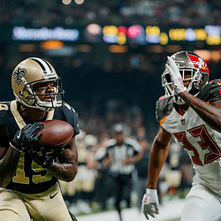 Sep 9, 2018; New Orleans, LA, USA; New Orleans Saints wide receiver Ted Ginn Jr. (19) catches a touchdown past Tampa Bay Buccaneers cornerback Carlton Davis (33) during the first half of a game at the Mercedes-Benz Superdome. Mandatory Credit: Derick E. Hingle-USA TODAY Sports