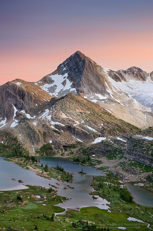 Sunset alpenglow over Russell Peak and Limestone Lakes Basin, Height-of-the-Rockies Provincial Park British Columbia Canada