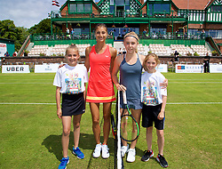 LIVERPOOL, ENGLAND - Thursday, June 15, 2017: Corinna Dentoni (ITA) and Ellie Aldrich (GBR) with ball girls during Day One of the Liverpool Hope University International Tennis Tournament 2017 at the Liverpool Cricket Club. (Pic by David Rawcliffe/Propaganda)
