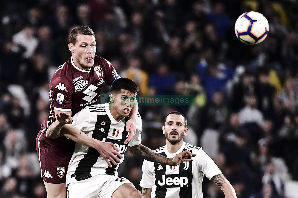 May 3, 2019 - Torino, Torino, Italia - Foto LaPresse - Marco Alpozzi.03 Maggio 2019 Torino, Italia .Sport.Calcio.Juventus Fc vs Torino Fc - Campionato di calcio Serie A TIM 2018/2019 - Allianz Stadium..Nella foto: Andrea Belotti (capitano) (Torino Fc); Joao Cancelo (Juventus F.C.);..Photo LaPresse - Marco Alpozzi.May 03, 2019 Turin, Italy.sport.soccer.Juventus Fc vs Torino Fc - Italian Football Championship League A TIM 2018/2019 - Allianz Stadium..In the pic:  Andrea Belotti (capitano) (Torino Fc); Joao Cancelo  (Credit Image: © Marco Alpozzi/Lapresse via ZUMA Press)