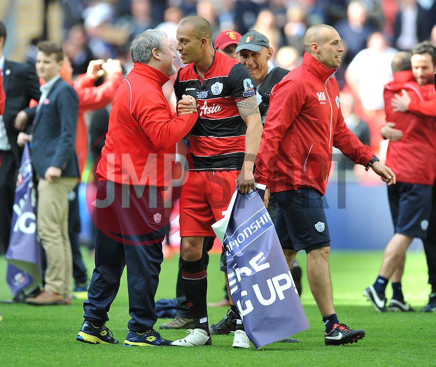Queens Park Rangers Coach Wally Downes celebrates with Goal soccer Queen Park Rangers' Bobby Zamora  - Photo mandatory by-line: Alex James/JMP - Tel: Mobile: 07966 386802 24/04/2014 - SPORT - FOOTBALL - wembley - London -  Derby County V Queens Park Rangers - Play off final