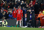 Patrick Bamford of Middlesbrough is substituted during the EFL Sky Bet Championship match between Middlesbrough and Leeds United at the Riverside Stadium, Middlesbrough, England on 2 March 2018. Picture by Paul Thompson.