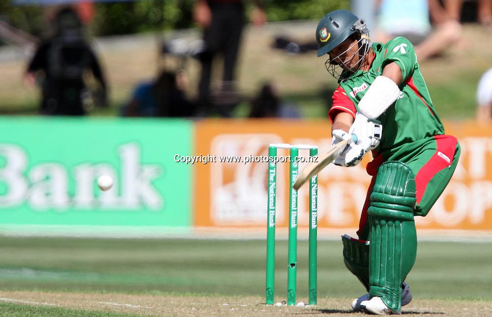 Mohammad Ashraful in action for Bangladesh.<br /> Cricket - 2nd ODI New Zealand Black Caps v Bangladesh, 8 February 2010, University Oval, Dunedin, New Zealand.<br /> International Cricket Season 2009/2010<br /> Photo: Rob Jefferies/PHOTOSPORT
