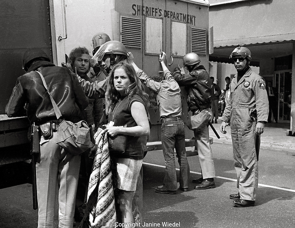 Student arrests and searches by riot police during Peoples Park Student protest & riots in Berkeley California 1969