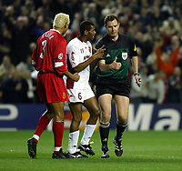 Fotball: Roma Aldair argues with Norwegian referee Rune Pedersen after he awarded Liverpool a penalty in the sixth minute during the UEFA Champions League match at Anfield.<br />