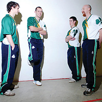 Ireland's top One-Wall handballers, sponsored by O'B Sport, will compete in the annual Basque International One-Wall Open Tournament, taking place on Friday the 30th November 2007, in Pamplona, Spain. Pictured from left are Niall Malone, Clare, Charly Shanks, Armagh, Diarmaid Nash, Clare, and James Doyle, Armagh. Handball Centre, Croke Park, Dublin. Picture credit: Pat Murphy / SPORTSFILE