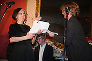KAREN DUFFY COLLECTS THE 2012 BAD SEX AWARD ON BEHALF OF WRITER NANCY HUSTON , The Literary Review Bad Sex fiction award 2012. The In and Out Club, 4 St. james's Sq. London. 4 December 2012