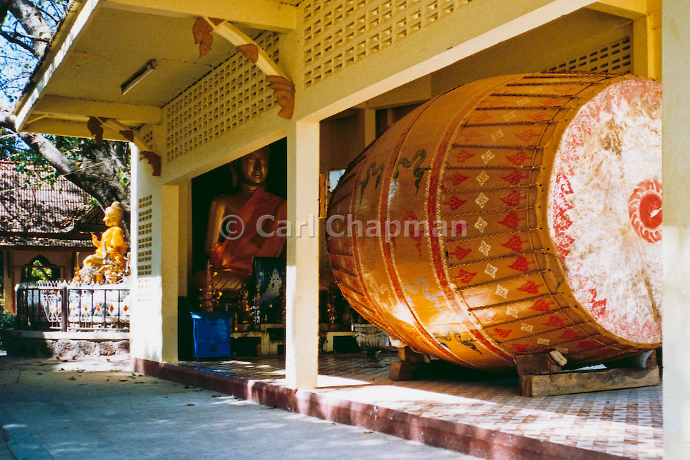 Large drum which is beat for good luck, buddhist temple at Tat Phanom, Thailand