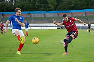 Cowdenbeath's Jamie Pyper can't stop Dundee&rsquo;s Randy Wolters getting in a cross - Cowdenbeath v Dundee in the Betfred Cup at Central Park, Cowdenbeath - Picture by David Young<br /> <br />  - &copy; David Young - www.davidyoungphoto.co.uk - email: davidyoungphoto@gmail.com