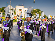 19 APRIl 2014 - BANGKOK, THAILAND: A high school marching band in the parade at the Rattanakosin Festival in Bangkok. Rattanakosin is the name of the man made island that is the heart of the old city. Bangkok was formally founded as the capital of Siam (now Thailand) on 21 April 1782 by King Rama I, founder of the Chakri Dynasty. Bhumibol Adulyadej, the current King of Thailand, is Rama IX, the ninth King of the Chakri Dynasty. The Thai Ministry of Culture organized the Rattanakosin Festival on Sanam Luang, the royal parade ground in the heart of the old part of Bangkok, to celebrate the city's 232nd anniversary.    PHOTO BY JACK KURTZ