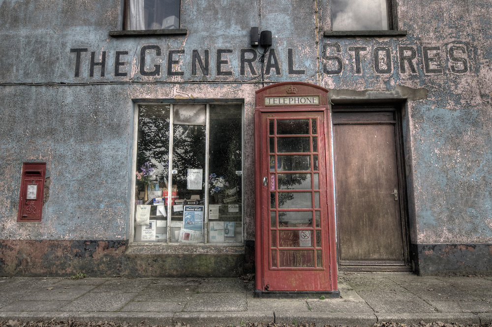 abandoned village shop and telephone box