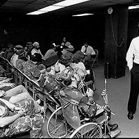 Agent Orange veterans meet with then-VA Deputy Administrator Chuck Hagel during a protest meeting at the VA Building in Washington, DC on May 13, 1982.