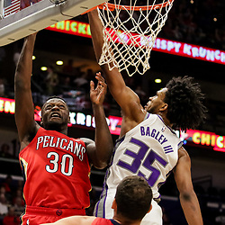 Oct 19, 2018; New Orleans, LA, USA; New Orleans Pelicans forward Julius Randle (30) shoots over Sacramento Kings forward Marvin Bagley III (35) during the first quarter at the Smoothie King Center. Mandatory Credit: Derick E. Hingle-USA TODAY Sports