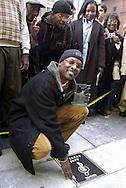 DJ Jazzy Jeff is shown with his plaque on Philadelphia's Walk of Fame, Friday, Nov. 17, 2000, in Philadelphia. (Photo by William Thomas Cain/www.photojournalist.cc)