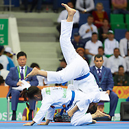 Ashgabat, Turkmenistan - 2017 September 16:<br /> while Ju Jitsu competition during 2017 Ashgabat 5th Asian Indoor & Martial Arts Games at Martial Arts Arena (MAA) at Ashgabat Olympic Complex on September 16, 2017 in Ashgabat, Turkmenistan.<br /> <br /> Photo by © Adam Nurkiewicz / Laurel Photo Services