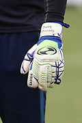 AFC Wimbledon goalkeeper George Long (1) personalised gloves during the EFL Sky Bet League 1 match between AFC Wimbledon and Oxford United at the Cherry Red Records Stadium, Kingston, England on 10 March 2018. Picture by Matthew Redman.