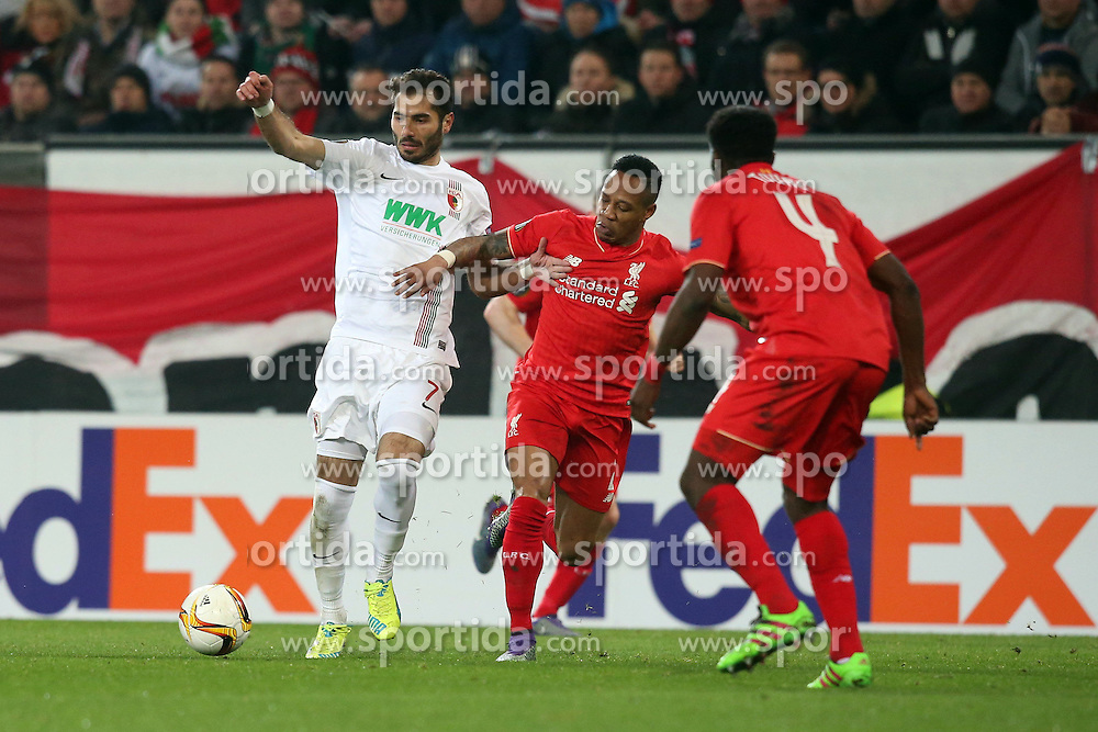 18.02.2016, WWKArena, Augsburg, GER, UEFA EL, FC Augsburg vs FC Liverpool, Sechzehntelfinale, Hinspiel, im Bild Halil Altintop ( FC Augsburg ) Nathaniel Clyne ( FC Liverpool ) Kolo Toure ( FC Liverpool ) // during the UEFA Europa League Round of 32, 1st Leg match between FC Augsburg and FC Liverpool at the WWKArena in Augsburg, Germany on 2016/02/18. EXPA Pictures © 2016, PhotoCredit: EXPA/ Eibner-Pressefoto/ Langer<br /> <br /> *****ATTENTION - OUT of GER*****