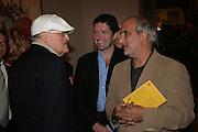 David Hockney, Michael Waldman and Alan Yentob, Georg Baselitz, Royal Academy. 18 September 2007. -DO NOT ARCHIVE-© Copyright Photograph by Dafydd Jones. 248 Clapham Rd. London SW9 0PZ. Tel 0207 820 0771. www.dafjones.com.