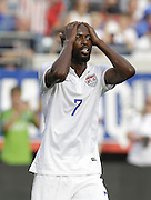 JACKSONVILLE, FL - JUNE 07:  Defender DaMarcus Beasley #7 of the United States reacts after missing a shot during the international friendly match against Nigeria at EverBank Field on June 7, 2014 in Jacksonville, Florida.  (Photo by Mike Zarrilli/Getty Images)