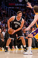 20 November 2012: Center (11) Brook Lopez of the Brooklyn Nets in game action against the Los Angeles Lakers during the first half of the Lakers 95-90 victory over the Nets at the STAPLES Center in Los Angeles, CA.