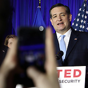 Republican Presidential candidate Ted Cruz celebrates his victory in the Wisconsin primary Tuesday April 5, 2016. <br /> Photography by Jose More
