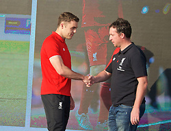 LIVERPOOL, ENGLAND - Monday, May 9, 2016: Liverpool's Connor Randall and Robbie Fowler at the launch of the New Balance 2016/17 Liverpool FC kit at a live event in front of supporters at the Royal Liver Building on Liverpool's historic World Heritage waterfront. (Pic by David Rawcliffe/Propaganda)