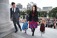 Prime Minister Jacinda Ardern, her nieces and partner Clarke Gayford arrive at Parliament after a swearing-in ceremony at Government House on October 26, 2017 in Wellington, New Zealand