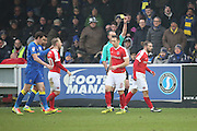 Charlton Athletic midfielder Ricky Holmes (11) yellow card during the EFL Sky Bet League 1 match between AFC Wimbledon and Charlton Athletic at the Cherry Red Records Stadium, Kingston, England on 11 February 2017. Photo by Matthew Redman.