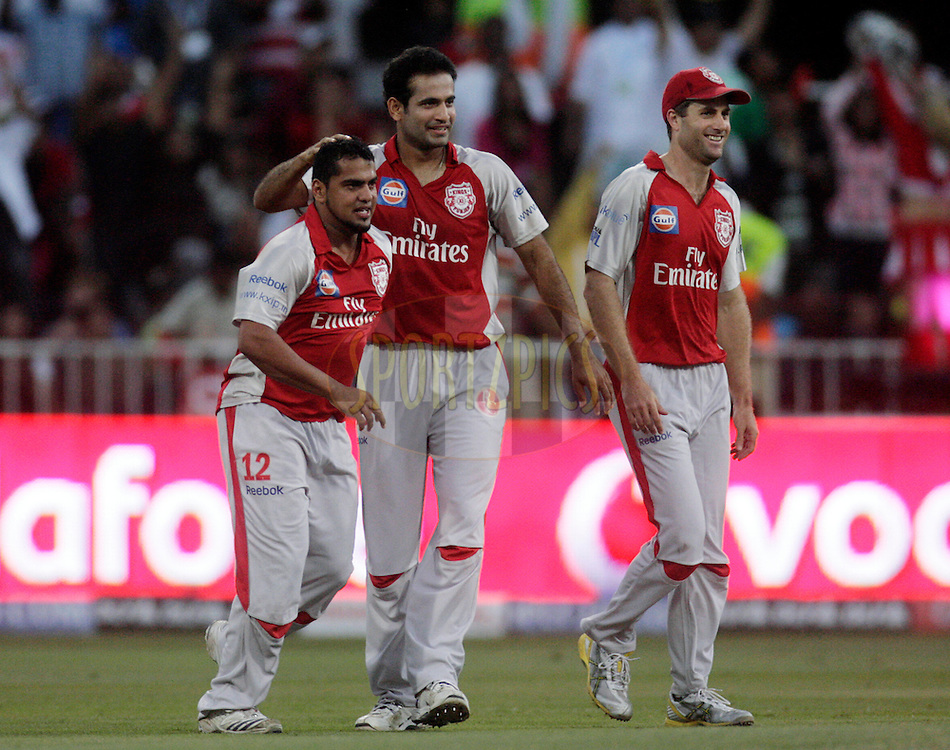 DURBAN, SOUTH AFRICA - 1 May 2009. Yusuf Abdulla, Irfan Pathan and Simon Katich celebrate a wicket during the IPL Season 2 match between Kings X1 Punjab and the Royal Challengers Bangalore held at Sahara Stadium Kingsmead, Durban, South Africa..