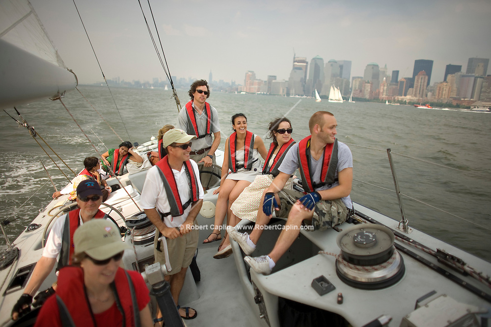 Patrons socialize on a boat in New York.