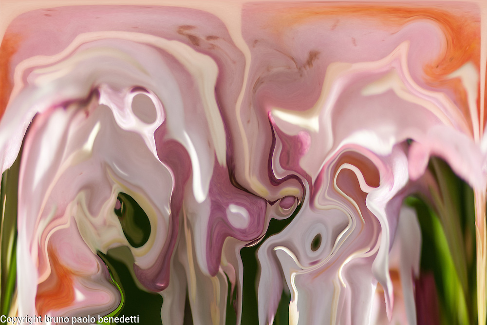 abstract dropping pink color fluid flow with white and green shades with blurries in acquerello texture.