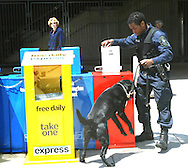 A 11 mg image of:..Officer Tony Montgomery and his dog Saber on patrol at the New Carrollton, Maryland train station on May 4, 2004 Photo by Dennis Brack