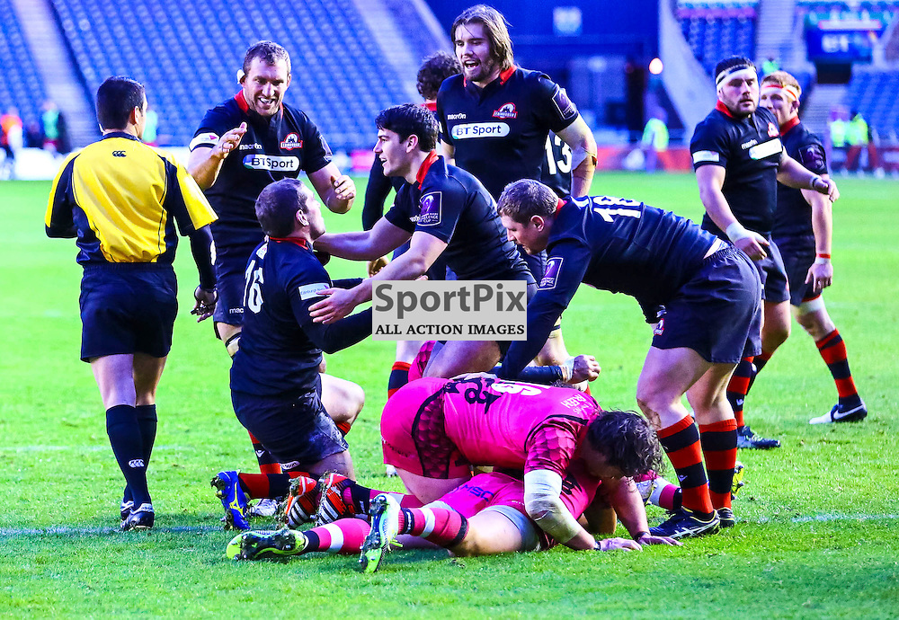 Edinburgh prop Neil COCHRANE is congratulated after scoring Edinburgh's second try. Edinburgh Rugby v London Welsh, European Rugby Challenge Cup, 7 December 2014. (c) [Neil Bain] | SportPixPix.org.uk