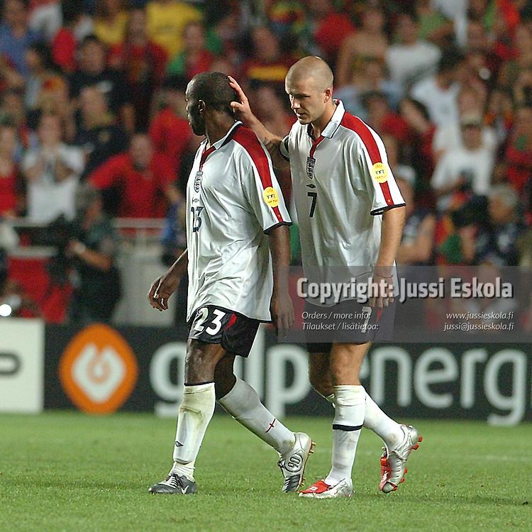Pk shootout, David Beckham, Darius Vassell, Portugal-England, 24.6.2004.&amp;#xA;Euro 2004.&amp;#xA;Photo: Jussi Eskola<br />