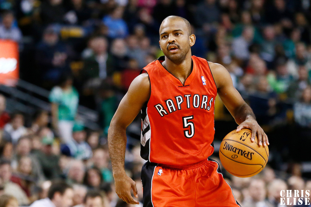 17 November 2012: Toronto Raptors point guard John Lucas (5) brings the ball upcourt during the Boston Celtics 107-89 victory over the Toronto Raptors at the TD Garden, Boston, Massachusetts, USA.