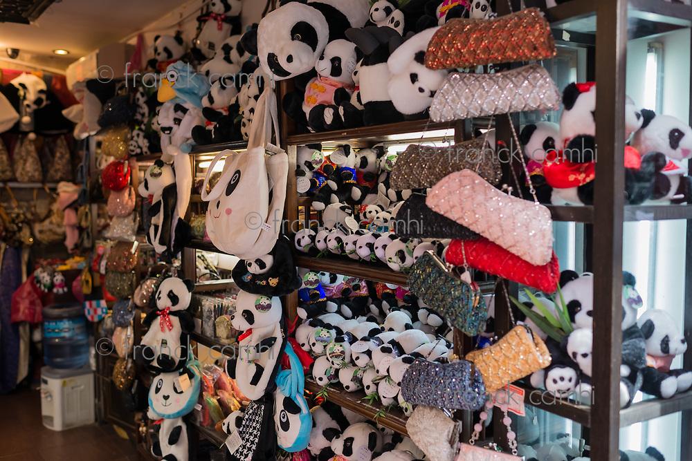 Shanghai, China - April 7, 2013: panda bear gift shop in Fang Bang Zhong Lu at the old city of Shanghai in China on april 7th, 2013