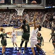 Moriah Jefferson, (right), UConn, shoots past Courtney Williams, USF, during the UConn Huskies Vs USF Bulls Basketball Final game at the American Athletic Conference Women's College Basketball Championships 2015 at Mohegan Sun Arena, Uncasville, Connecticut, USA. 9th March 2015. Photo Tim Clayton