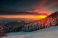 Above the ski slope at sunrise