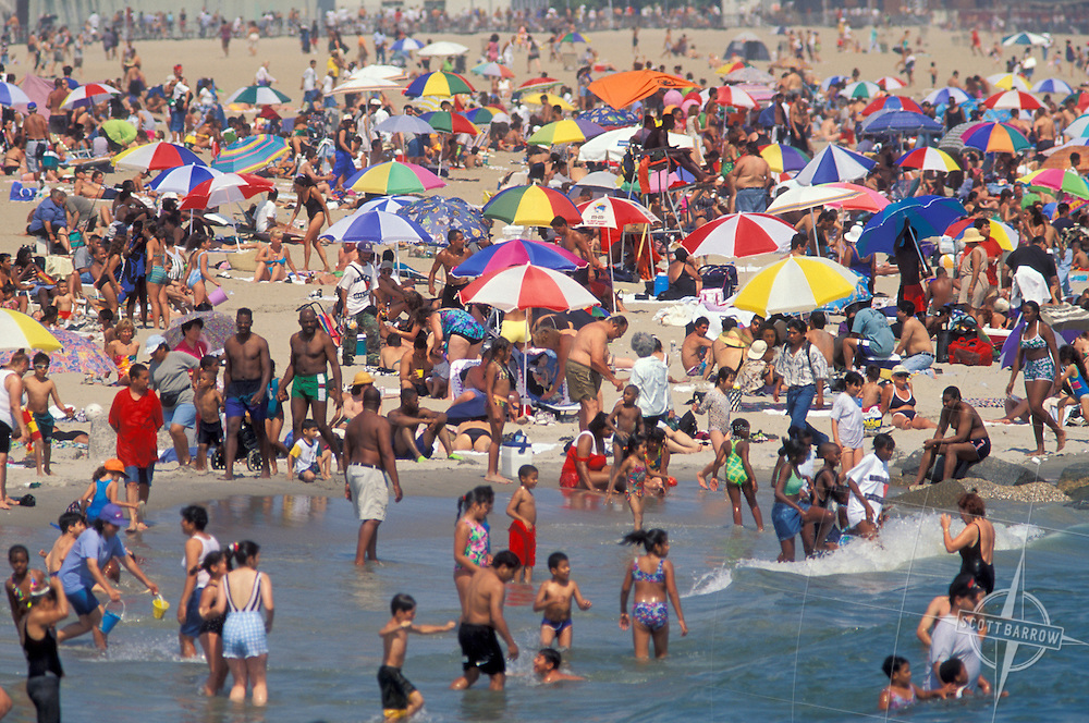 Busy beach at Coney Island