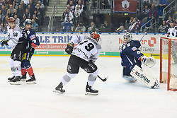 01.03.2019, O2 World, Berlin, GER, DEL, Eisbaeren Berlin vs Koelner Haie, 52. Runde, im Bild v.l. Colby Genoway #59 - Haie, Colin Smith - Eisbaeren, Colin Ugbekile #79 - Haie, Kevin Poulin - Eisbaeren // during the DEL 52th round match between Eisbaeren Berlin and Koelner Haie at the O2 World in Berlin, Germany on 2019/03/01. EXPA Pictures © 2019, PhotoCredit: EXPA/ Eibner-Pressefoto/ Uwe Koch<br /> <br /> *****ATTENTION - OUT of GER*****