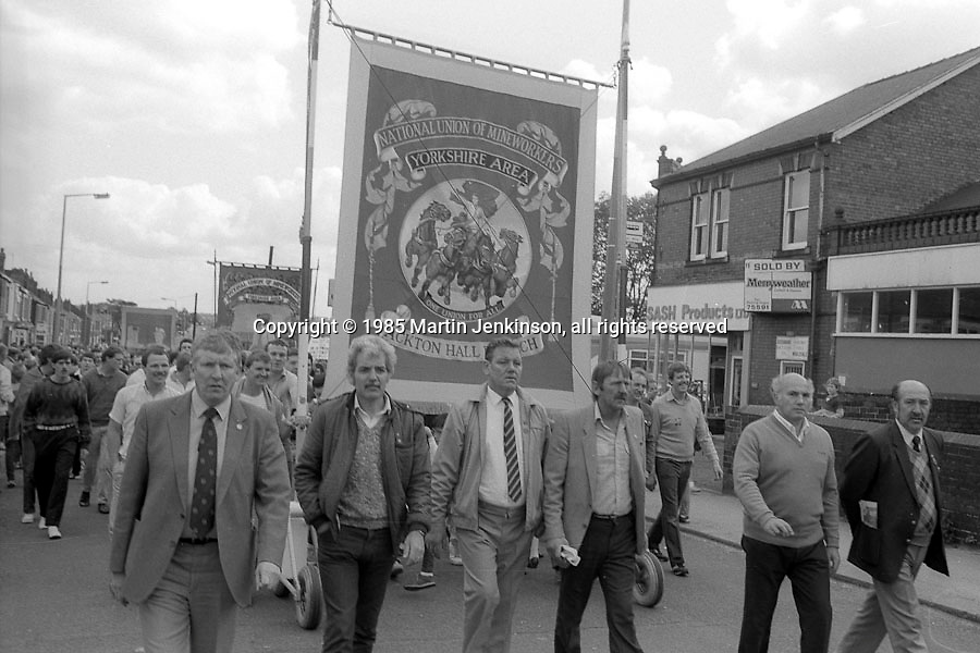 Ackton Hall banner, 1985 Yorkshire Miner's Gala. Rotherham.