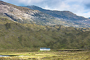 Traditional crofters croft and barn in Wester Ross, in the Highlands of Scotland
