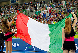 Flag of Italy during basketball match between National teams of Italy and Lithuania in Quarterfinals at Day 16 of Eurobasket 2013 on September 19, 2013 in Arena Stozice, Ljubljana, Slovenia. (Photo by Vid Ponikvar / Sportida.com)