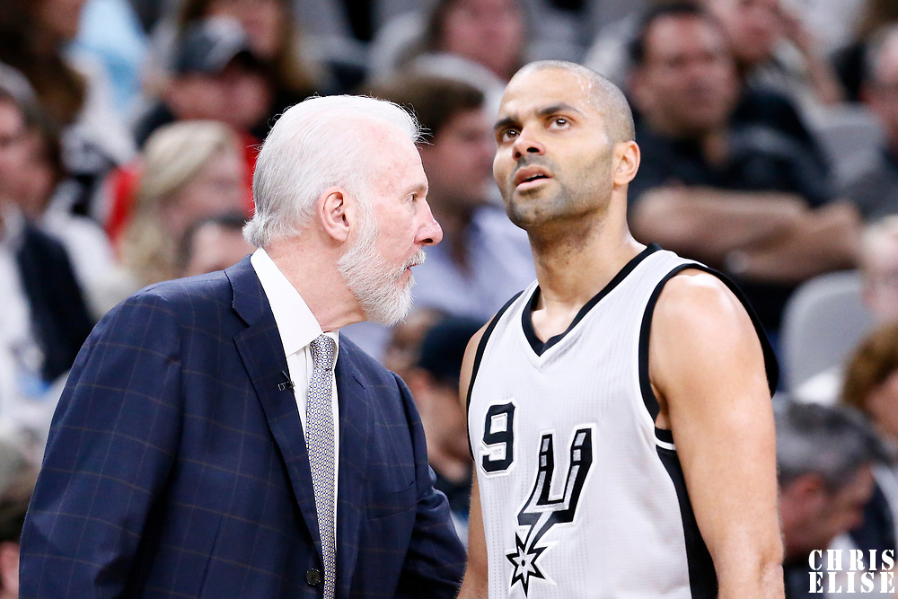 02 April 2017: San Antonio Spurs head coach Gregg Popovich is seen next to San Antonio Spurs guard Tony Parker (9) during the San Antonio Spurs 109-103 victory over the Utah Jazz, at the AT&T Center, San Antonio, Texas, USA.