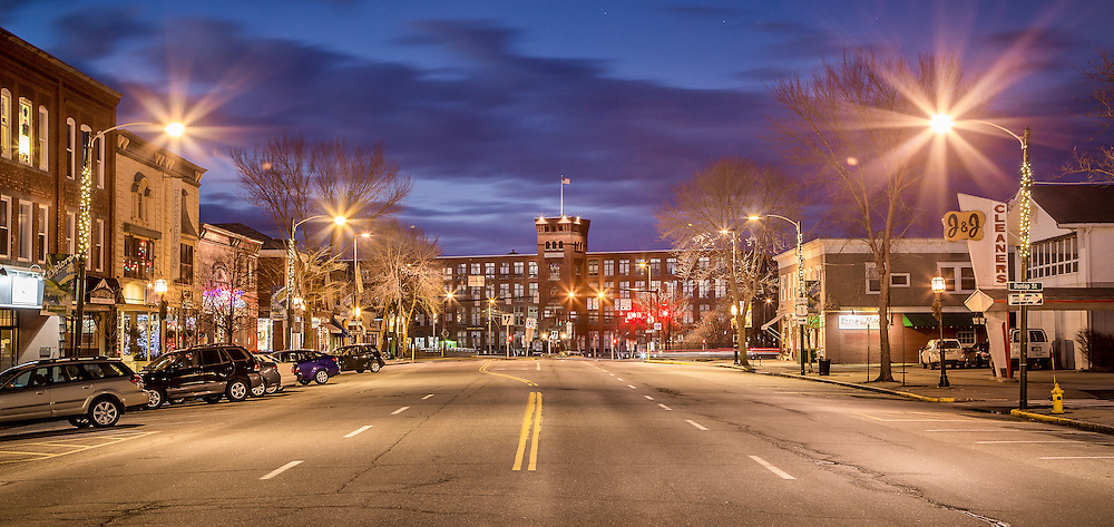 A twilight view of Maine Street looking towards Fort Andross