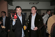 Tom Sykes and Christopher Simon Sykes,  Book launch for ' What Did I Do last night' by Tom Sykes. Century Club. Shaftesbury Ave. London. 16 January 2006. -DO NOT ARCHIVE-© Copyright Photograph by Dafydd Jones. 248 Clapham Rd. London SW9 0PZ. Tel 0207 820 0771. www.dafjones.com.