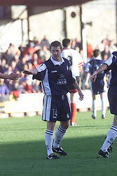 Kevin McAllister celebrates after scoring their third goal, Falkirk v Clyde, 2000..